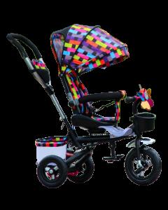 Tricicleta multifunctionala copii cu scaun reversibil 10 luni -5 ani,roti cauciuc ,cos cumparaturi,gentuta,sonerie