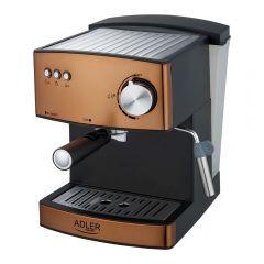 Espressor de Cafea si Capucinno Adler, Functie Spumare Lapte, Putere 850W, Rezervor Apa 1.6L Detasabil, Presiune 15 bar, Maro/Negru