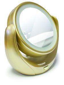 Oglinda pentru cosmetica cu iluminare LED si marire de 5x, diametru 11cm