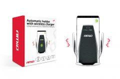 Incarcator auto wireless, cu suport inchidere/deschidere automata, incarcare prin inductie electromagnetica, brat reglabil, negru