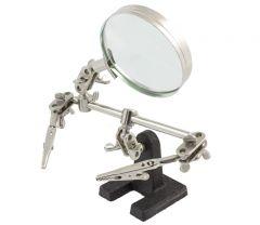 Dispozitiv din metal cu 2 brate in unghi reglabile si Lupa inclusa, pentru sudarea sau dezlipirea obiectelor mici