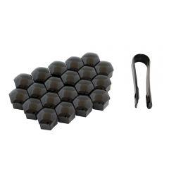 Set 20 Capace Ornament pentru Prezoane Roata, Culoare Negru
