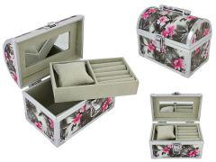 Cutie pentru bijuterii compartimentata, cu oglinda si imprimeu floral + incuietoare