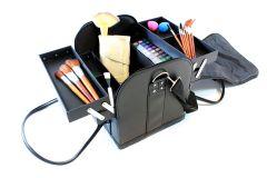 Geanta Eleganta Organizatoare pentru Cosmetice din Piele Ecologica, Diverse Compartimente, Negru