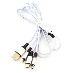 Cablu de Date 3-in-1, MicroUSB, Lighting si USB tip C, Lungime 1,2m, Argintiu