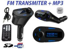 Modulator FM MP3 Auto cu Display Albastru Telecomanda USB Card SD AUX Jack 12/24V