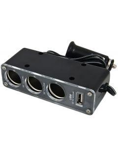 Priza tripla auto pentru bricheta + soclu USB, culoare Negru