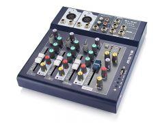 Mixer Audio DJ Profesional Analog Blow, 4 Canale, USB, AUX, Putere Phantom + 48V, Jack 6.3mm, RCA, Carcasa Metal, Negru