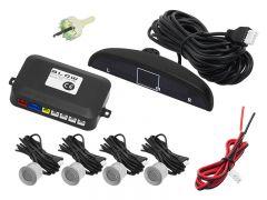 Set Complet 4 Senzori de Parcare Auto Blow cu Afisaj Electronic si Semnal Sonor, Culoare Argintiu