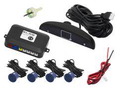 Set Complet 4 Senzori de Parcare Auto Blow cu Afisaj Electronic si Semnal Sonor, Culoare Albastru