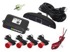 Set Complet 4 Senzori de Parcare Auto Blow cu Afisaj Electronic si Semnal Sonor, Culoare Rosu