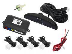 Set Complet 4 Senzori de Parcare Auto Blow cu Afisaj Electronic si Semnal Sonor, Culoare Alb