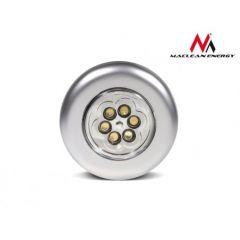 Lampa Rotunda Autoadeziva tip Spot cu LED Portabila pe Baterii cu Intrerupator Incorporat, Culoare Argintiu