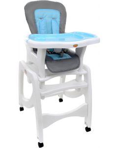 Scaun de masa inaltator pentru copii si bebe, 5in1, pliabil, cu roti spatar si tava reglabile, albastru/gri
