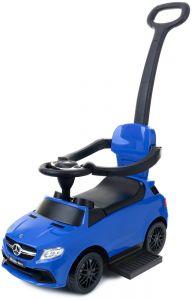 Masinuta pentru Plimbat Copii 3-in-1 cu Maner, Volan si Protectie Anti-Cadere, Model Mercedes, Culoare Albastru