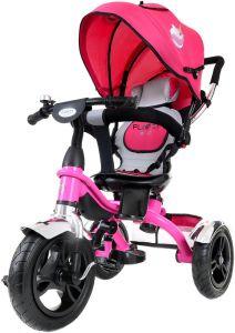 Tricicleta pentru copii cu scaun rotativ, copertina, cos, maner parental, suport picioare pliabil, culoare roz