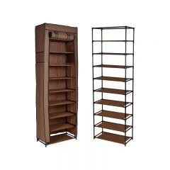 Dulap raft textil LEA pentru depozitare incaltaminte, imbracaminte sau accesorii, 9 nivele, 2 buzunare laterale, culoare Maro