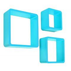 Set 3 Rafturi de Perete Cube Patrate si Colturi Rotunjite, Dimensiuni Diferite, Culoare Albastru