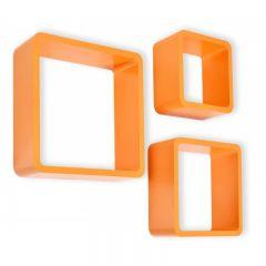 Set 3 Rafturi de Perete Cube Patrate si Colturi Rotunjite, Dimensiuni Diferite, Culoare Portocaliu