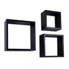 Set 3 Rafturi de Perete Cube Quad Patrate, Dimensiuni Diferite, Culoare Negru