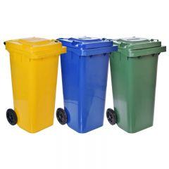 Set 3x Europubele Containere in 3 Culori Diferite pentru Colectarea Selectiva a Deseurilor, Capacitate 120L