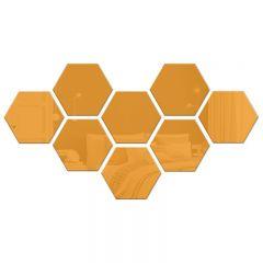 Set Oglinda Decorativa Acrilica din 8 Bucati Hexagonale, Culoare Auriu
