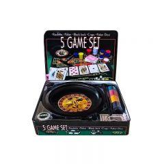 Set Casino 5in1 cu ruleta,  poker, carti de joc si zaruri