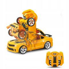 Robot transformer galben, masina de curse, cu efecte sonore