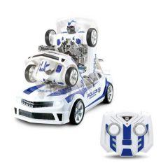 Robot transformer alb, masina de politie, cu efecte sonore