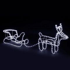Decoratiune luminoasa de exterior cu Ren si sanie, lumina LED alb rece, 8 moduri iluminare