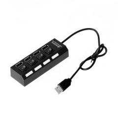 HUB Distribuitor USB cu 4 Porturi si Comutatoare Individuale, Culoare Negru