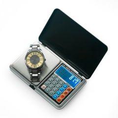 Cantar Electronic de Buzunar 4-in-1 cu Ceas, Cantar, Calculator si Termometru