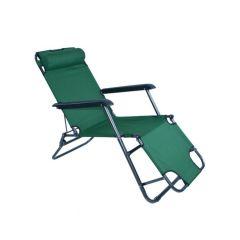 Scaun tip Sezlong Pliabil si Reglabil cu Tetiera pentru Gradina sau Terasa, Culoare Verde