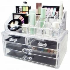 Suport Organizator Transparent pentru Cosmetice si Bijuteri, 16 Compartimente, 4 Sertare