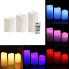 Set 3 lumanari LED RGB, 3 moduri iluminare cu telecomanda