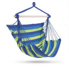 Hamac Brazilian tip Scaun Fotoliu pentru Casa, Curte sau Gradina, Capacitate 150kg, Culoare Albastru/Verde