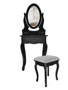 Set Masa Toaleta pentru Machiaj cu Oglinda, 3 Sertare si Scaun, culoare Negru