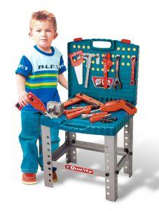 Banc de lucru pentru copii, cu suport, unelte si accesorii, 56 piese