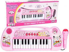Orga Electronica cu 25 Clape si Microfon pentru Copii, Culoare Roz