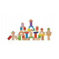 Set 100 Jucarii Forme din Lemn EcoToys, Diverse Forme Geometrice Multicolore