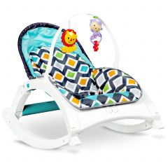 Scaun tip balansoar 3 in 1 pentru bebelusi, cu sunete si vibratii, 63x66x51 cm