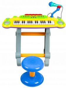 Set Orga 37 Clape pentru Copii cu Stativ, Scaunel si Microfon, Culoare galben