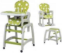 Scaun inalt de masa pentru copii 3in1, cu roti si spatar reglabil, culoare verde