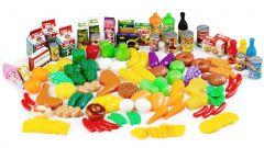 Set de joaca, accesorii pentru bucatarie, fructe, legume si alimente, 120 piese