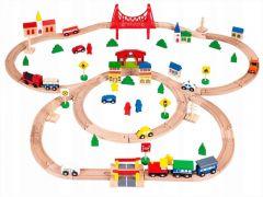 Set Joc Pista din Lemn cu tren, masinute si accesorii pentru fete sau baieti, 90 piese