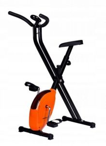 Bicicleta pentru Fitness Reglabila, Pliabila cu Afisaj LCD Diferite Valori, Capacitate 120kg, Culoare Orange