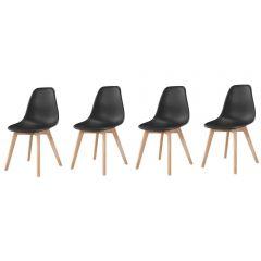 Set 4x Scaune Moderne Venetia pentru Bucatarie, Living, Sufragerie sau Exterior, Model PC-001, Culoare Negru