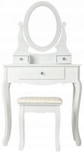 Masa Toaleta pentru Machiaj Multifunctionala din Lemn si MDF cu Oglinda si Scaun, Culoare Alb