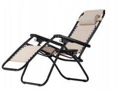 Scaun pliabil, ajustabil, cu tetiera, cotiere si suport lateral, pentru gradina sau terasa, culoare bej