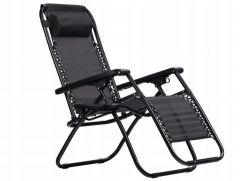 Scaun pliabil, ajustabil, cu tetiera, cotiere si suport lateral, pentru gradina sau terasa, culoare negru